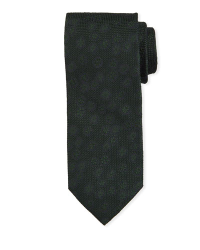Tonal Floral Silk Tie  Green