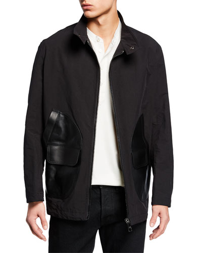 Men's Zip-Front Bomber Jacket with Leather Pockets