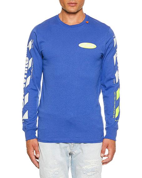 Off-White Men's Diagonal Split Logo Long-Sleeve T-Shirt