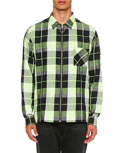 Men's Diagonal Zip Check Sport Shirt