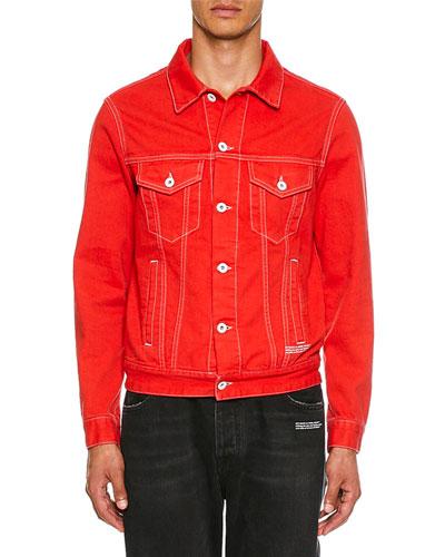 Men's Slim Graphic Print Denim Jacket