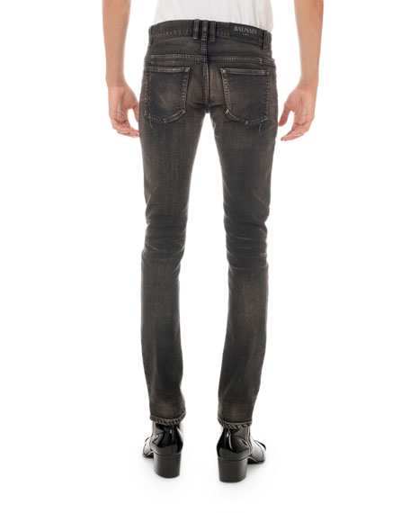 Balmain Men's Straight-Leg Distressed Jeans