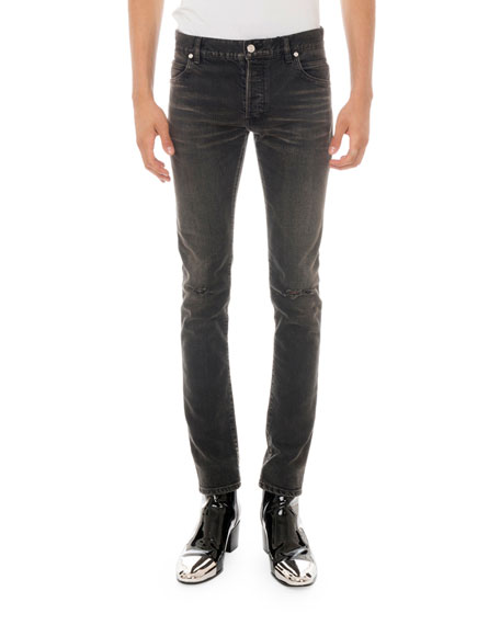 Balmain Men's Straight-Leg Distressed Jeans