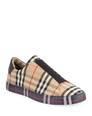 2a8ccf0aacb2 Burberry Men s Markham All Check Slip-On Low-Top Sneakers