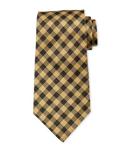 Gingham Plaid Silk/Linen Tie, Brown