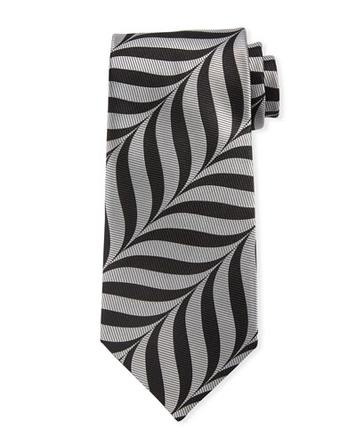 Abstract-Print 9cm Tie  Gray