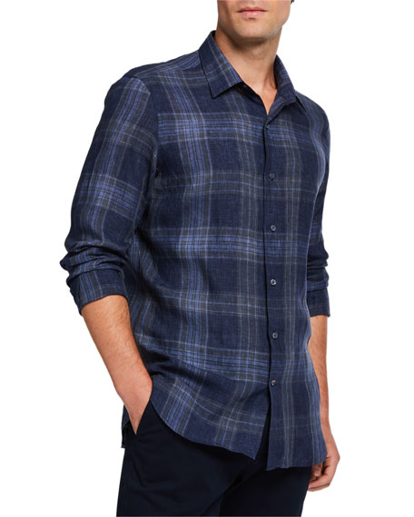 Loro Piana Men's Large-Plaid Linen Sport Shirt