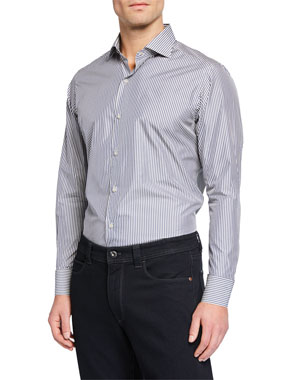 708685424 Loro Piana Men's New Alain Striped Flax-Blend Sport Shirt