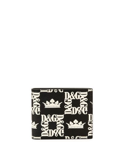 Men's Logo-Print Leather Bifold Wallet