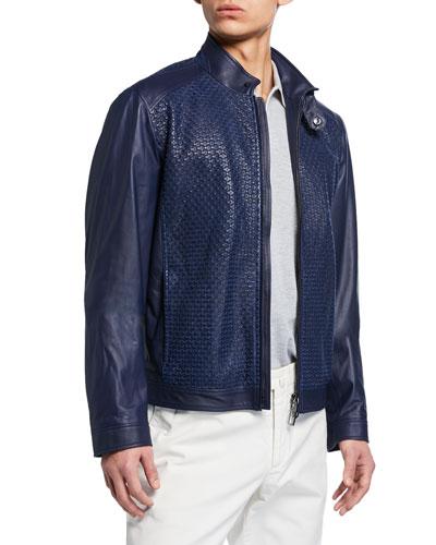 Men's Textured Lamb Leather Jacket