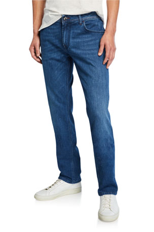 Stefano Ricci Men's Embroidered Five-Pocket Jeans