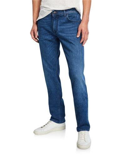 Men's Embroidered Five-Pocket Jeans
