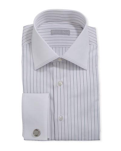 Men's Dash-Print Dress Shirt w/ French Cuffs