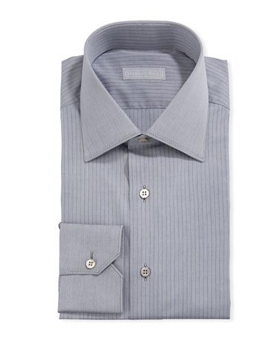 Men's Pinstriped Dress Shirt w/ Solid Trim