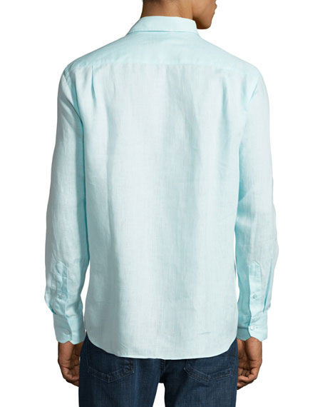 Caroubis Linen Pocket Sport Shirt