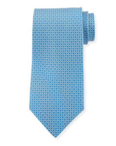 Gancini Bit Silk Tie  Blue