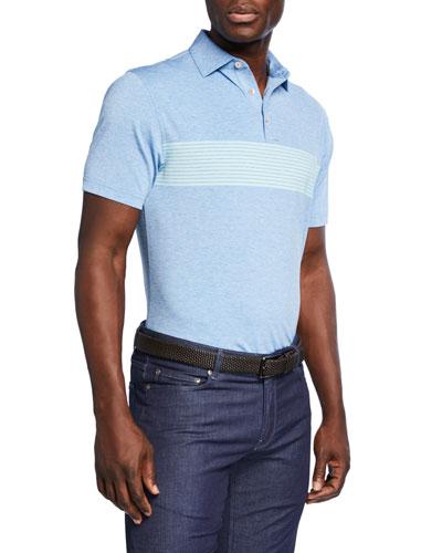 Men's Mecca Engineered-Stripe Jersey Polo Shirt