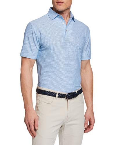 Men's Marlowe Boats-Print Polo Shirt