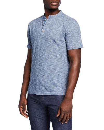 Men's Heathered Short-Sleeve Henley Shirt