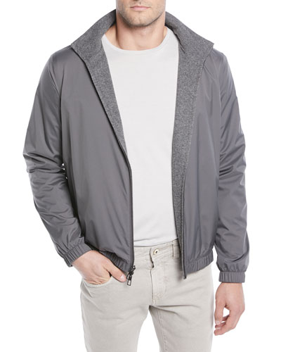 Men's Duo Cashmere Reversible Bomber Jacket  Gray