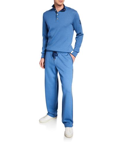 Men's Contrast-Trim Knit Jogging Suit
