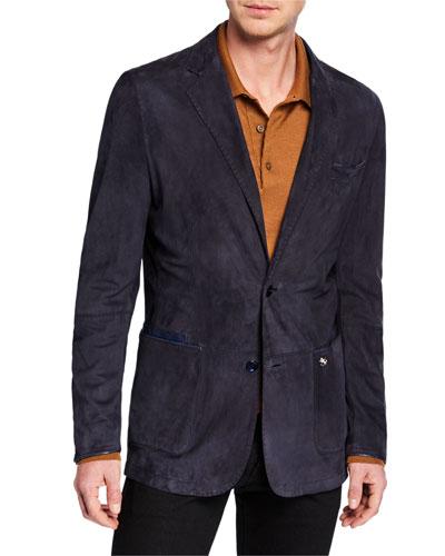 Men's Suede Two-Button Sport Jacket