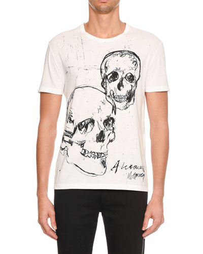 Men's Skulls Drawing Graphic T-Shirt
