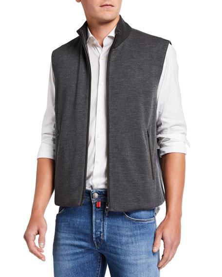 Loro Piana Men's Wish Wool-Blend Vest with Leather Trim