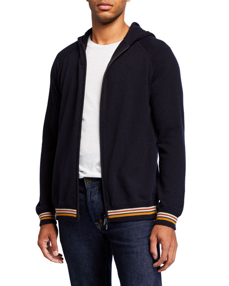 Loro Piana Men's Cashmere Zip Hoodie Sweater with Stripes
