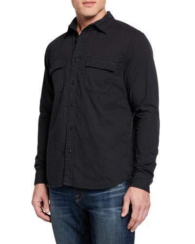 Men's Long-Sleeve Slouchy Double-Pocket Sport Shirt