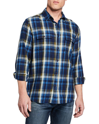 Men's Long-Sleeve Plaid Sport Shirt