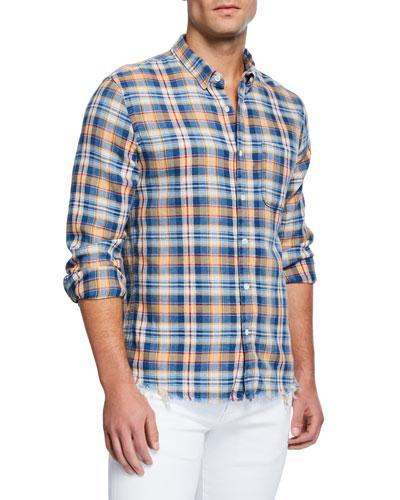 Men's Long-Sleeve Fray Hem Plaid Sport Shirt
