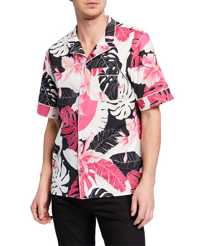 Men's Two-Tone Hawaiian-Print Short-Sleeve Sport Shirt