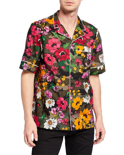 Men's Floral-on-Camo Print Short-Sleeve Sport Shirt