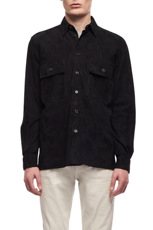 THE ROW Men's Johnny Suede Overshirt