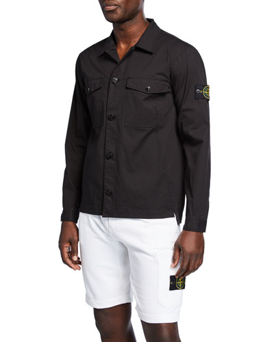 Men's Logo-Patch Poplin Overshirt