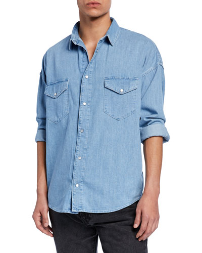 Men's Drop-Shoulder Western Cotton Shirt