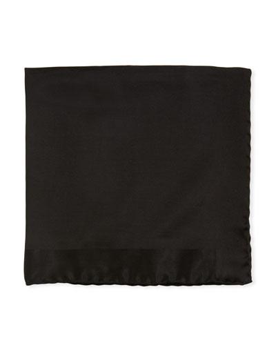 Tonal Border Silk Pocket Square  Black