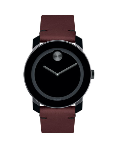 Men's Bold TR90 Two-Hand Watch with Brown Leather Strap