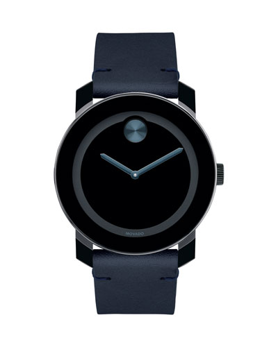 Men's Bold TR90 Two-Hand Watch with Blue Leather Strap