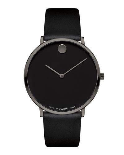 Men's Ultra Slim Watch w/ Black Museum Dial