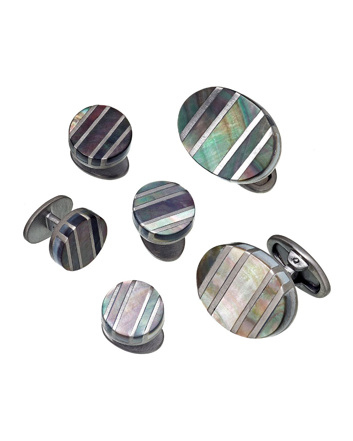 Jan Leslie Tops OVAL CUFFLINKS & STUD SETS WITH MOTHER-OF-PEARL STRIPES