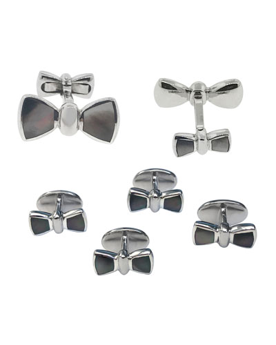 Mother-Of-Pearl Bowtie Cufflinks & Studs Set