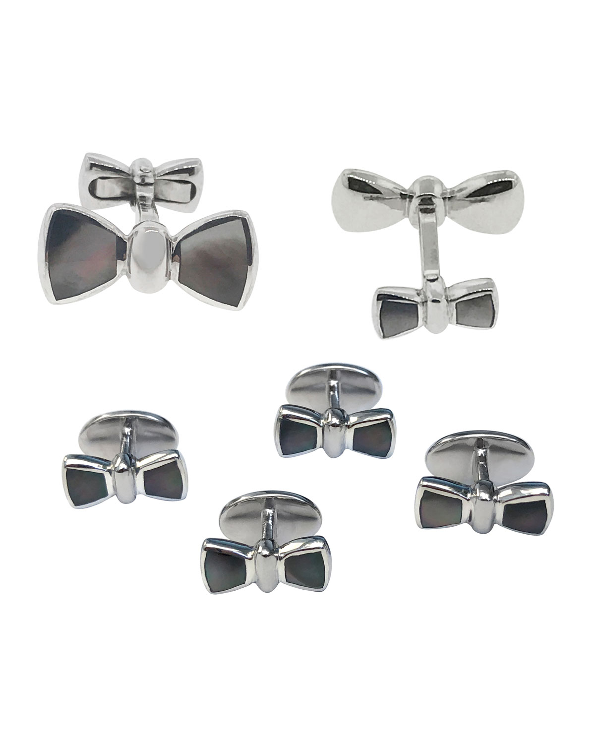 Jan Leslie Ties MOTHER-OF-PEARL BOWTIE CUFFLINKS & STUDS SET