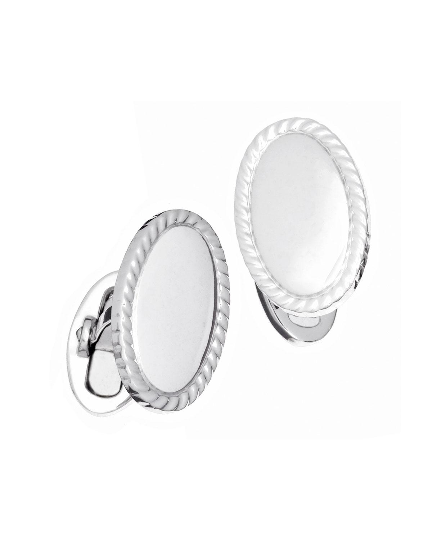Jan Leslie  Oval Braided-Edge Engravable Cufflinks
