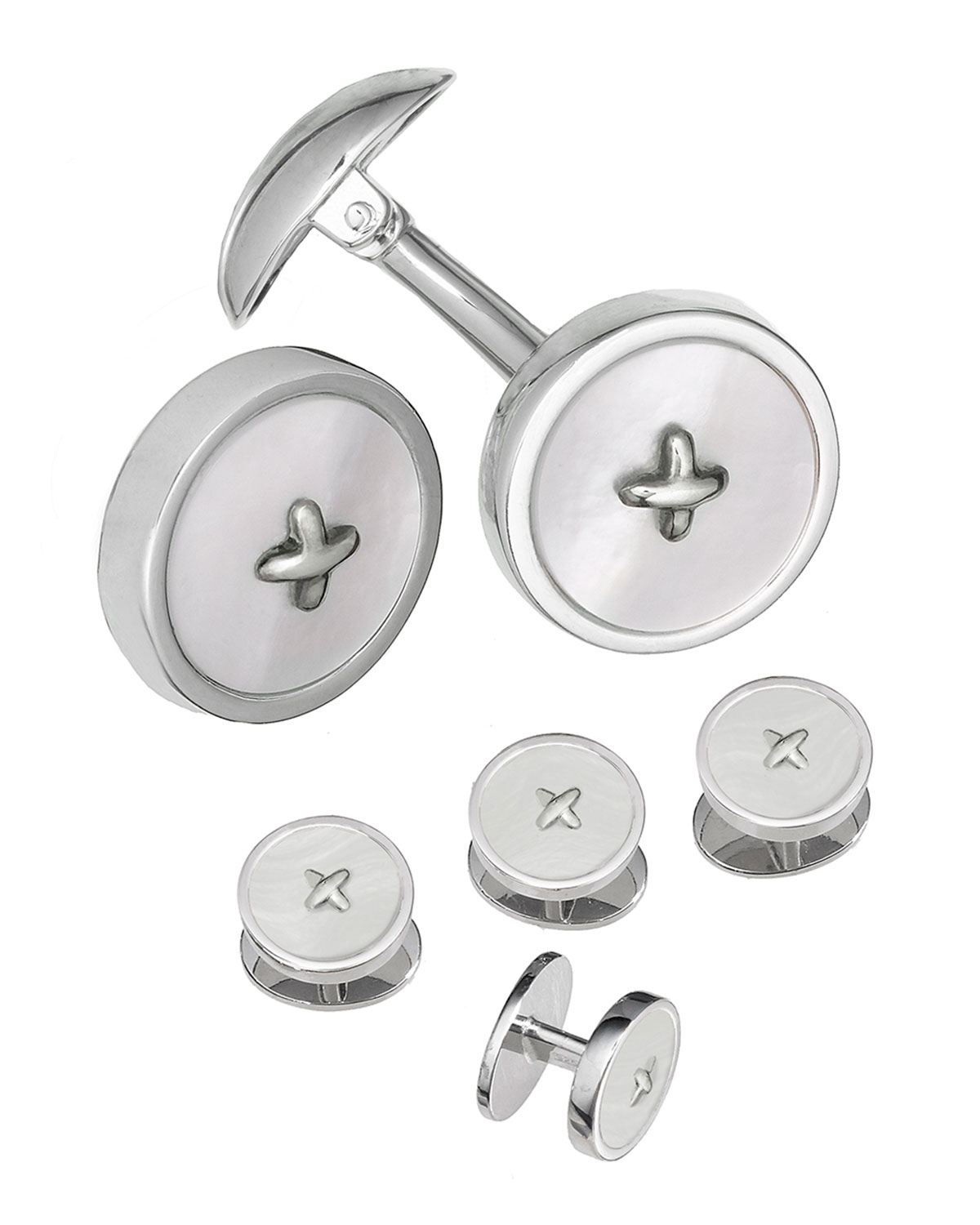 Jan Leslie Tops CLASSIC BUTTON MOTHER-OF-PEARL CUFFLINKS & STUDS SET