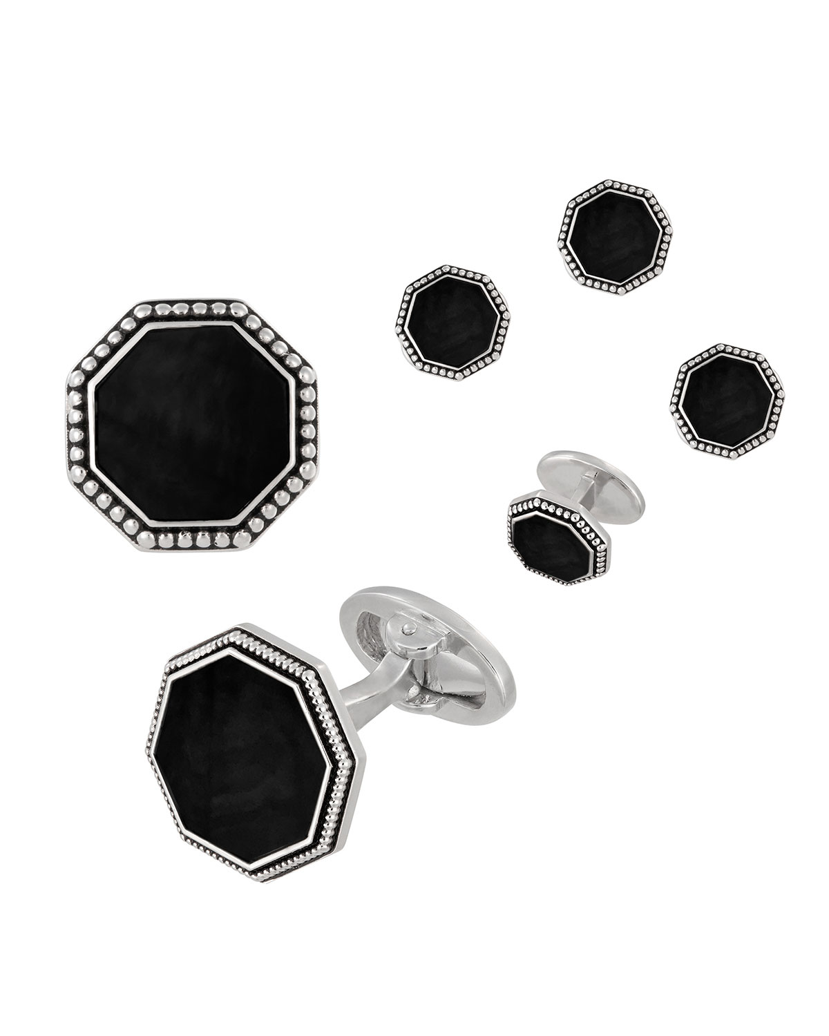 Jan Leslie Accessories BEADED OCTAGONAL ONYX CUFFLINKS & STUDS SET