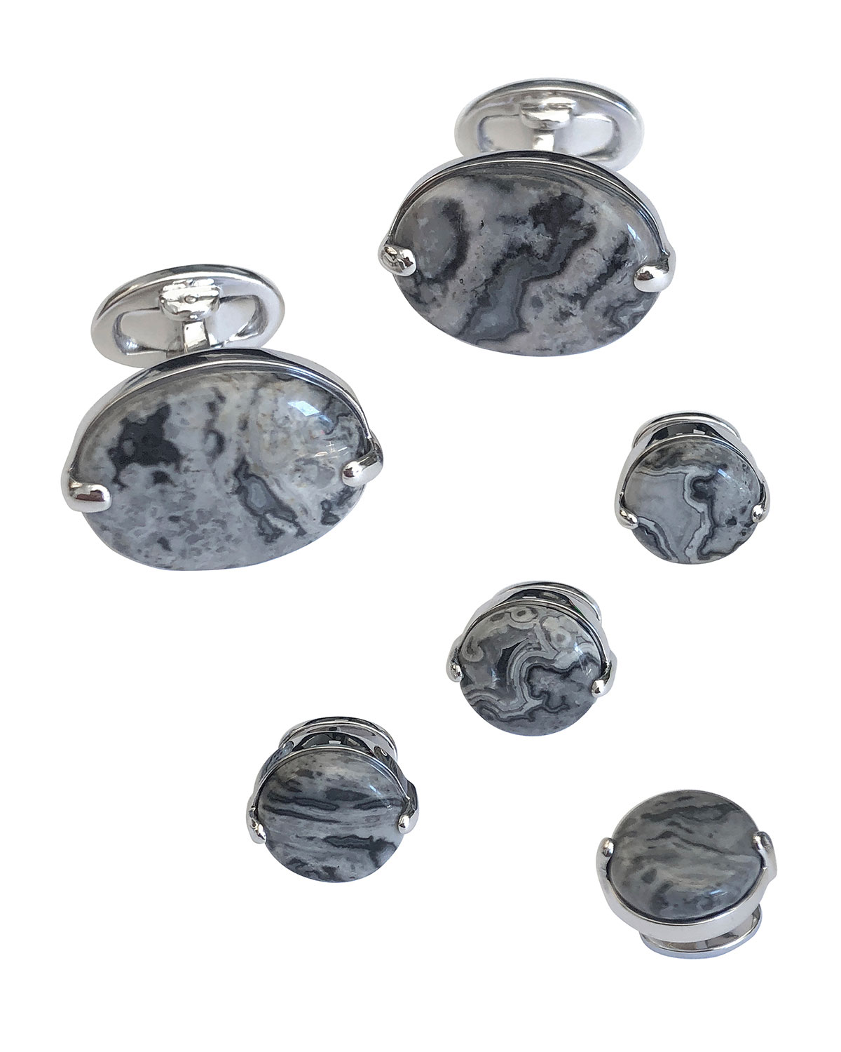 Jan Leslie Accessories OVAL AGATE CUFFLINKS & STUD SET