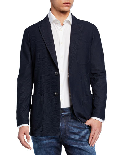 Men's Textured Mesh Two-Button Jacket