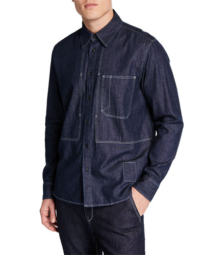 Men's Chore Button-Down Chambray Denim Shirt